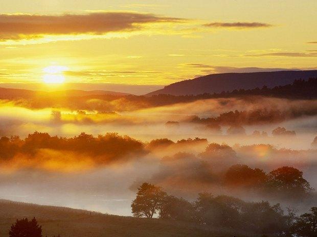 Low Lying Mist Over River Spey, Strathspey, Scotland